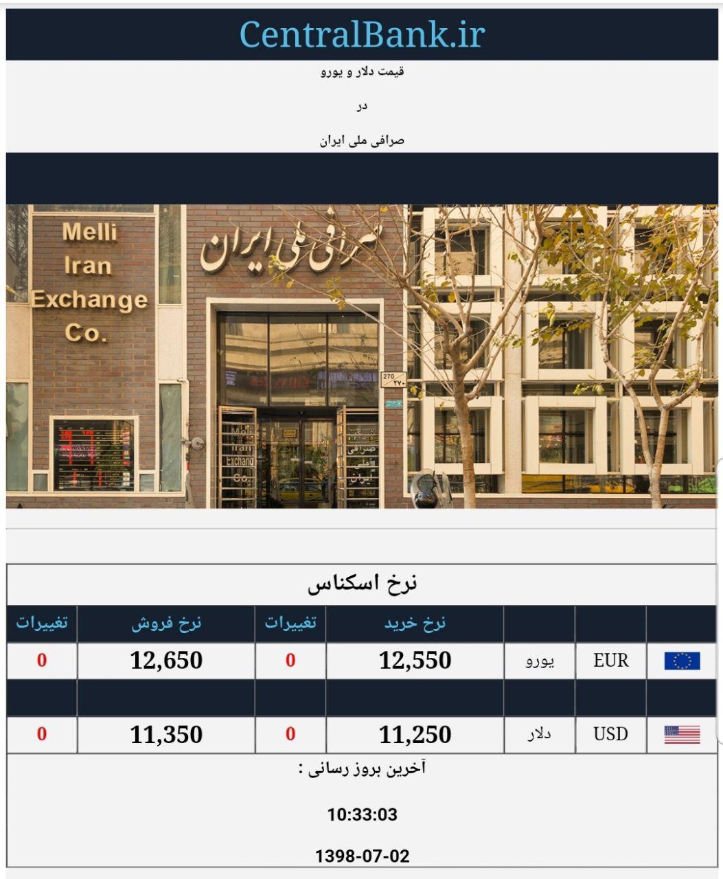 قیمت دلار و یورو در صرافی ملی امروز دوم مهر 98