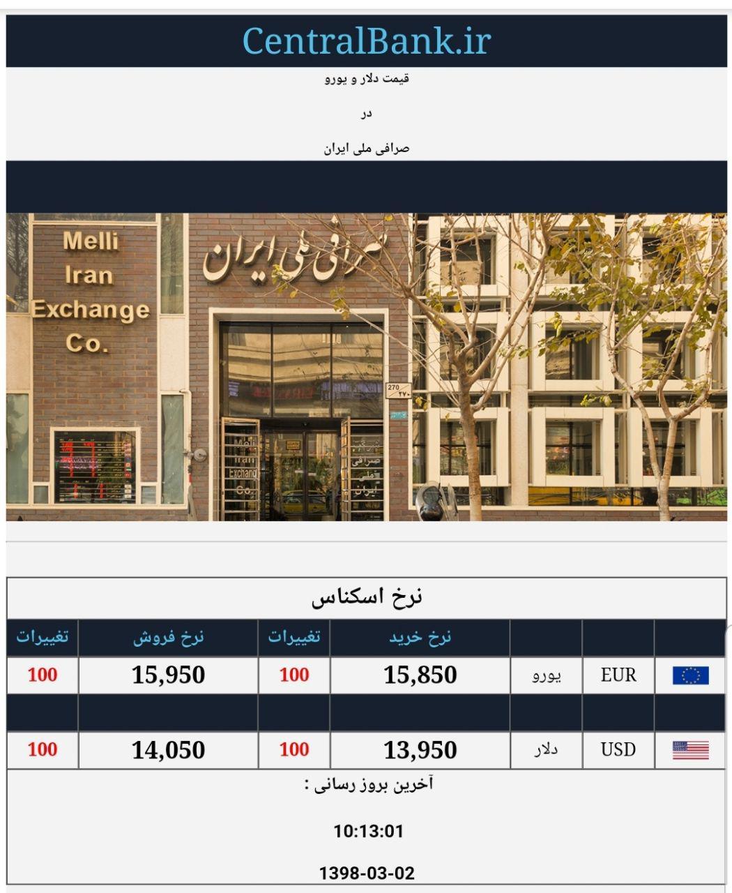 قیمت دلار و یورو صرافی ملی دوم خرداد