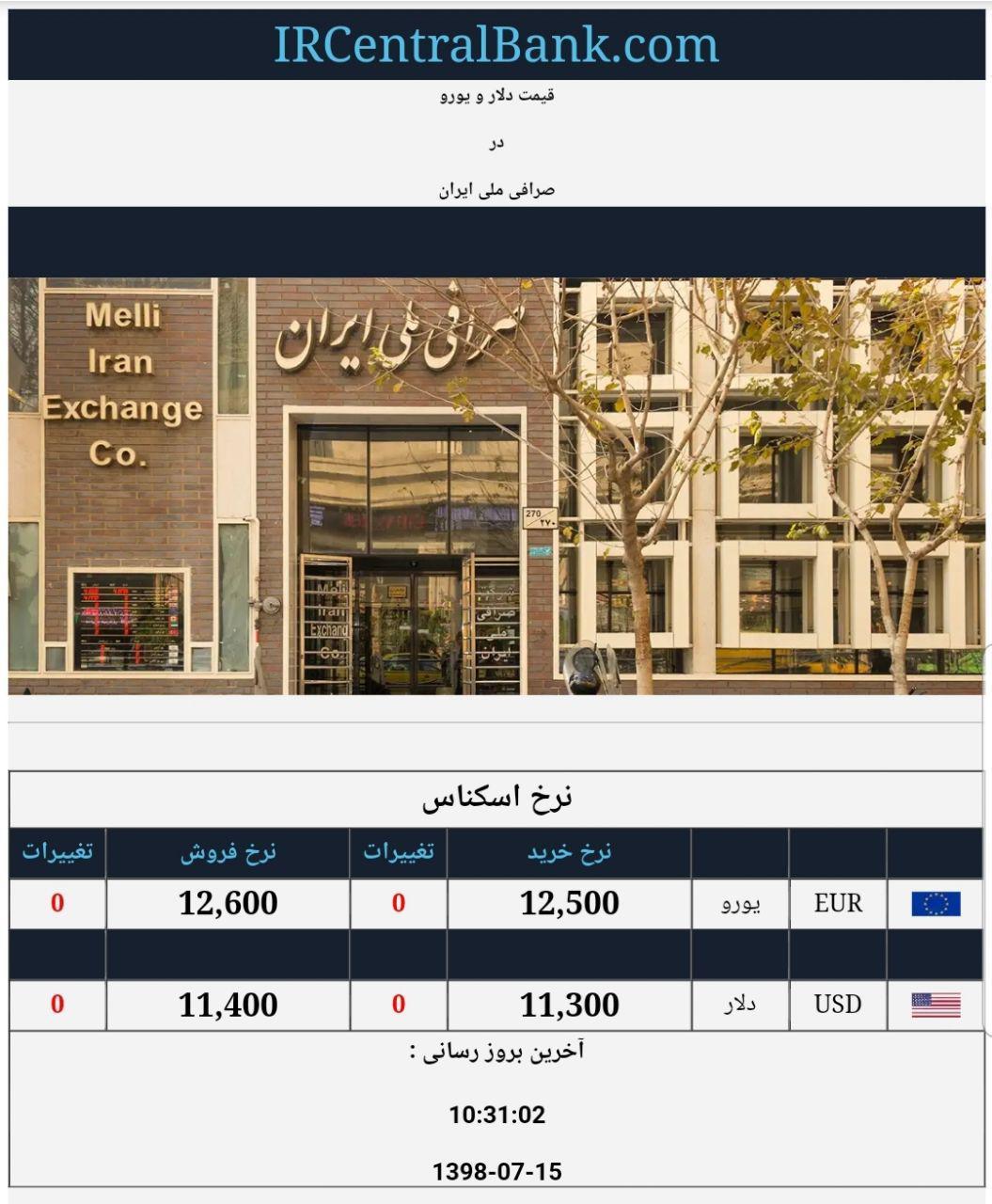قیمت دلار و یورو در صرافی ملی امروز 15 مهر 98