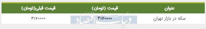 قیمت سکه در بازار امروز تهران 20 مرداد 98