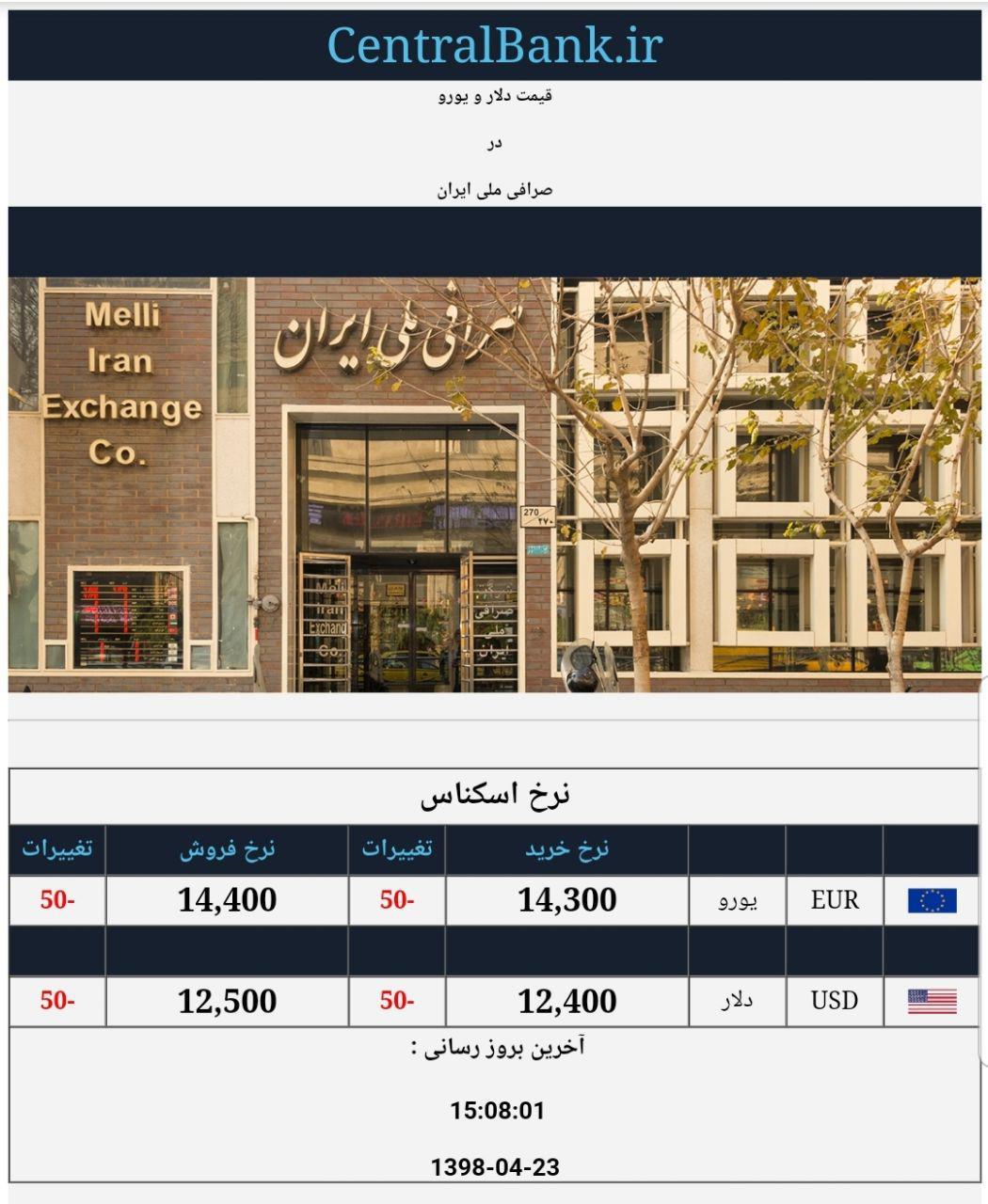 قیمت دلار و یورو در صرافی ملی امروز 23 تیر 98