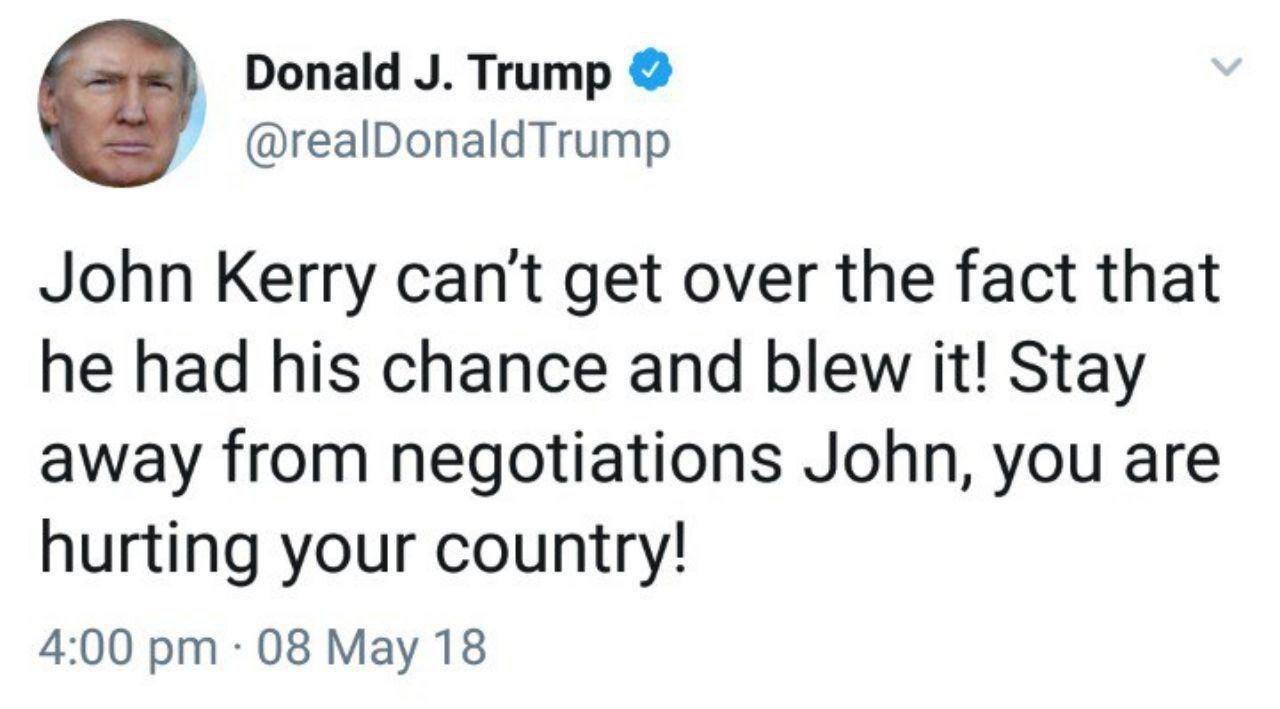 حمله توئیتری ترامپ به جان کری؛ کنار بکش
