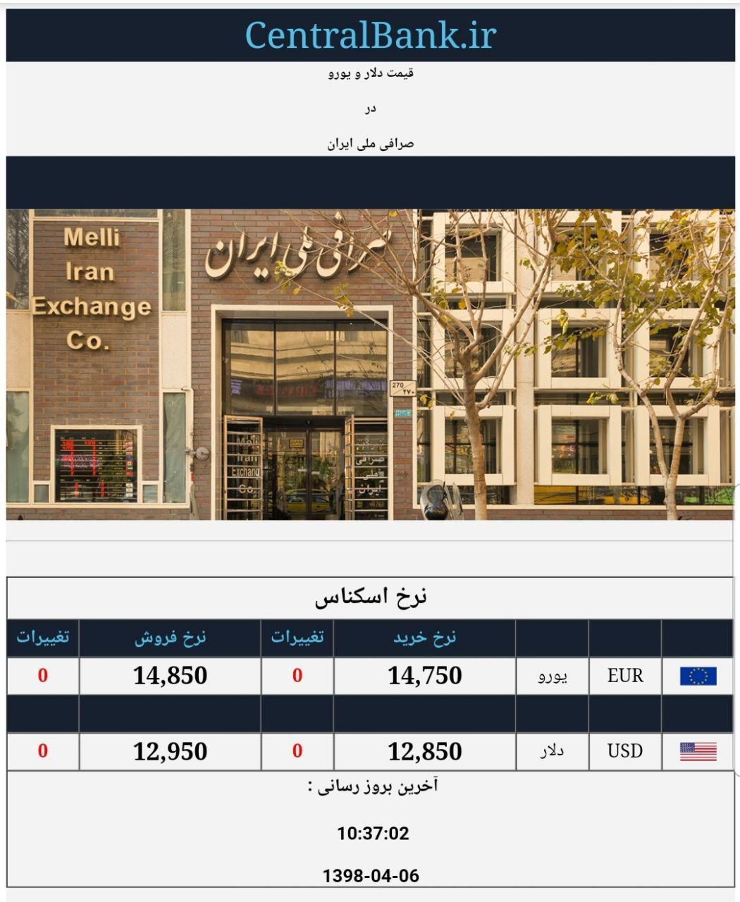 قیمت دلار و یورو در صرافی ملی امروز ششم تیر