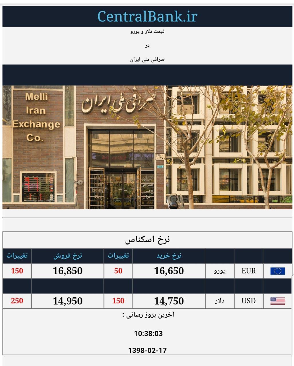 قیمت دلار و یورو صرافی ملی 17 اردیبهشت