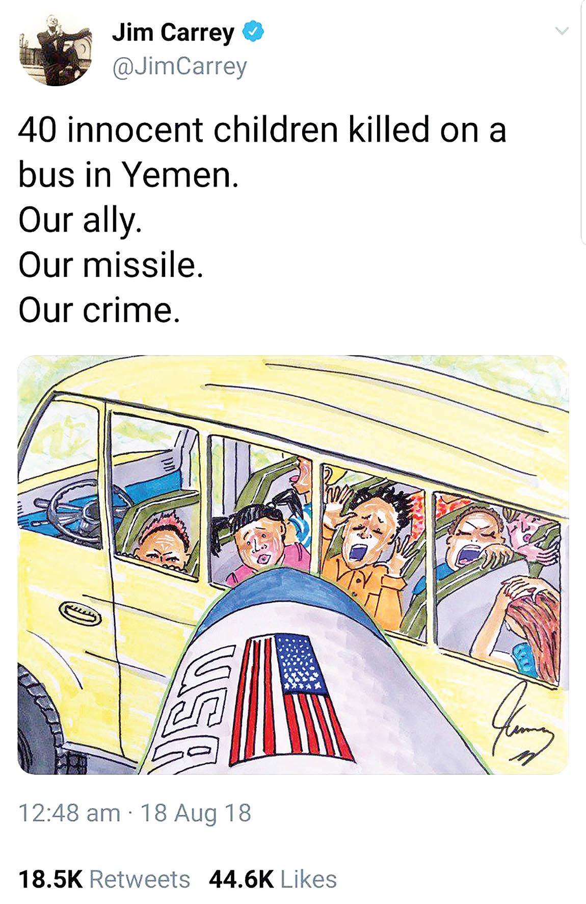 نقاشی جیم کری در محکوم کردن یک جنایت