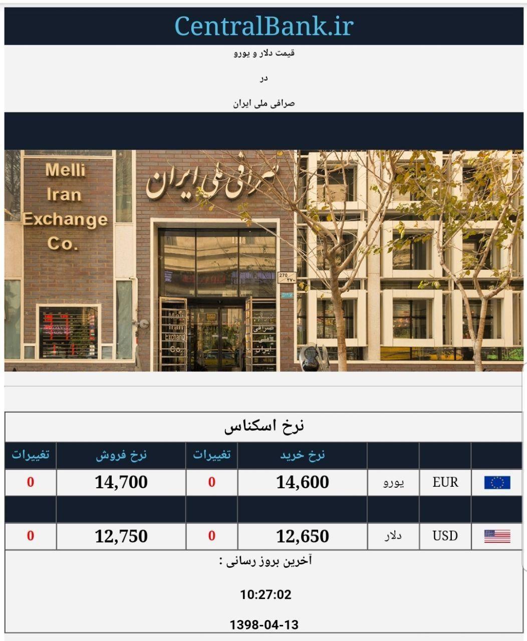 قیمت دلار و یورو در صرافی ملی امروز ۱۳۹۸/۰۴/۱۳