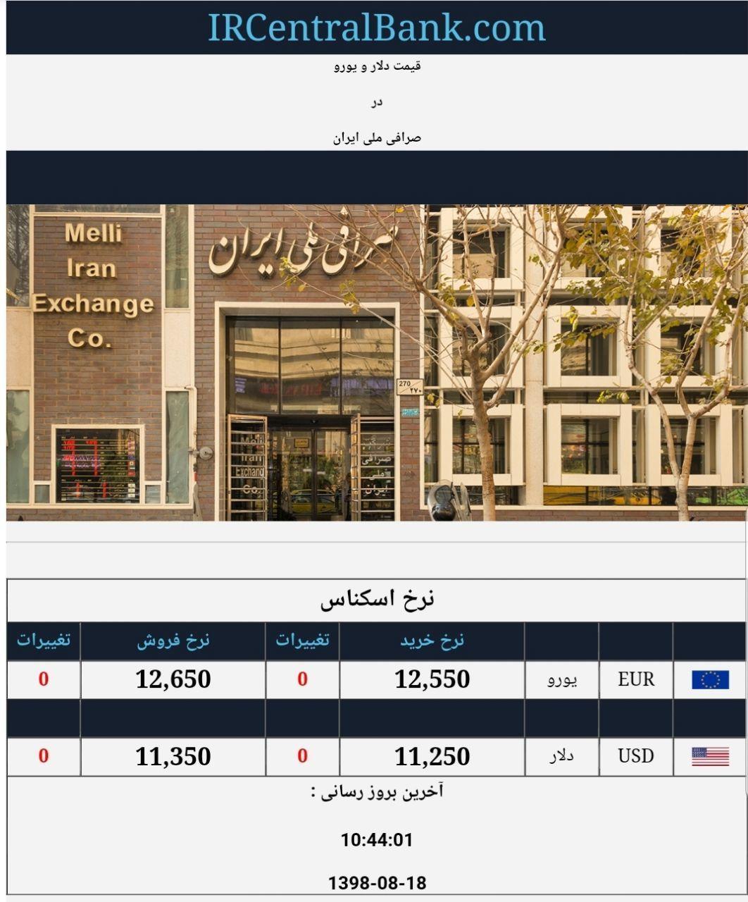 قیمت دلار و یورو در صرافی ملی امروز ۱۳۹۸/۰۸/۱۸
