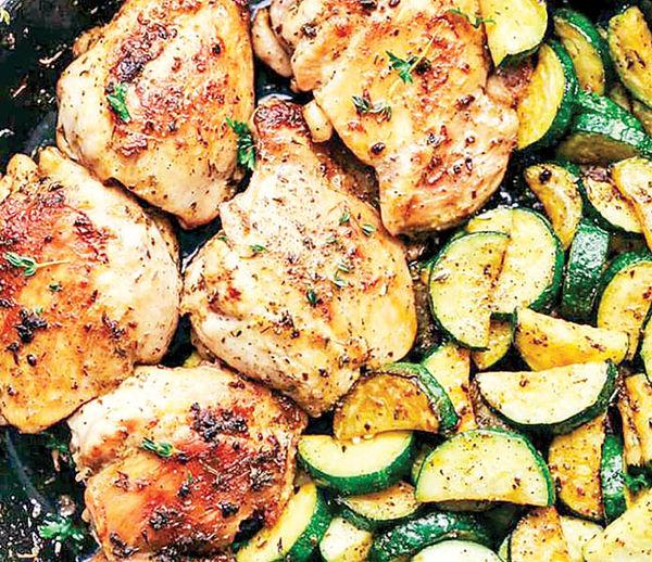 مرغ و  کدو و ژامبون