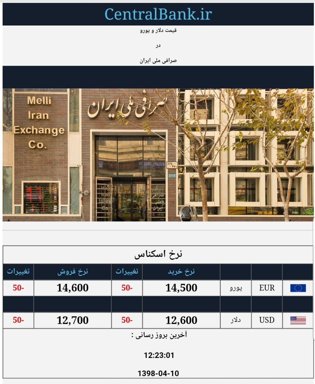 قیمت دلار و یورو در صرافی ملی امروز ۱۳۹۸/۰۴/۱۰