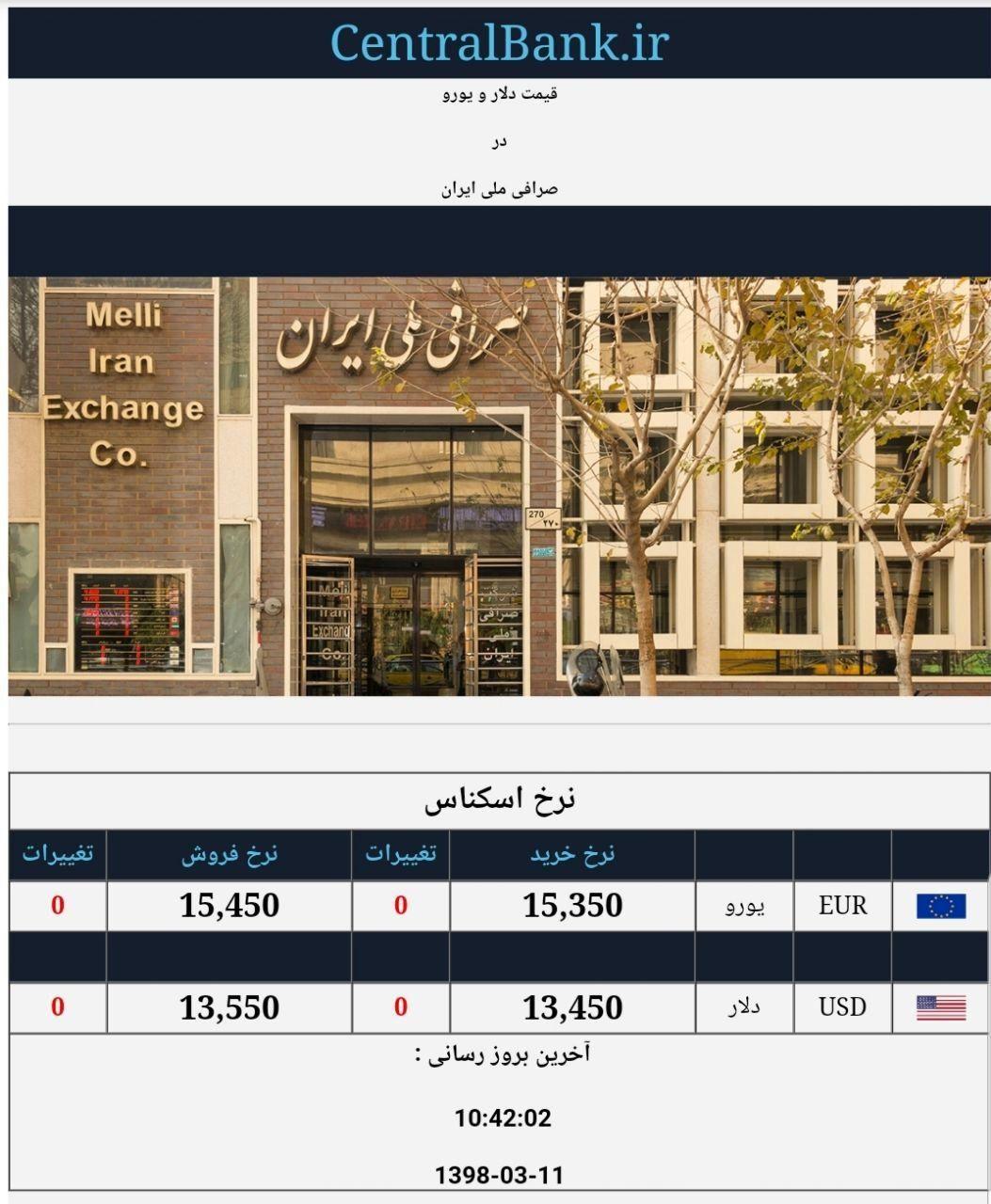 قیمت دلار و یورو در صرافی ملی امروز ۱۳۹۸/۰۳/۱۱