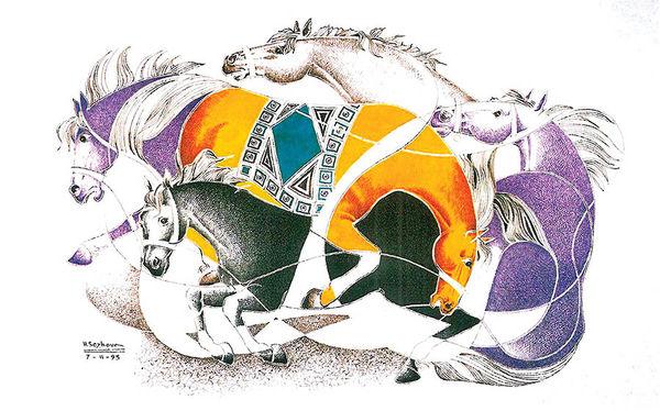 اسبهای هوشنگ سیحون در خانه صفوی