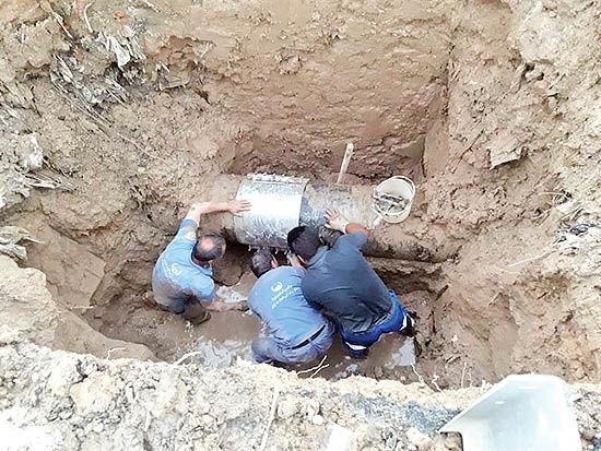 تعمیر شکستگی خط انتقال آب 500 میلیمتری در اسلامشهر