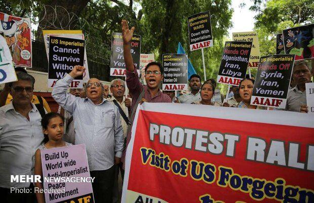 اعتراض به سیاست های ضد ایرانی آمریکا در هند